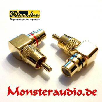 Sinuslive CWS Cinchwinkelstecker paar Cinch Winkelstecker RCA Adapter 2 Stück